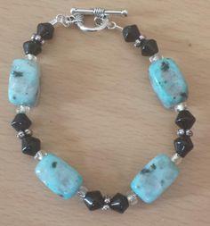 "Aqua Stone & Black Beaded Bracelet 6 1/2"" $10"