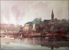 Dusan Djukaric Watercolor, Savamala , Belgrade, 56x76 cm