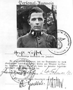 "This is the Nazi party membership book photo-ID page for Horst Ludwig Wessel (1907-1930), a German Nazi Party activist and an SA-Sturmführer who was made a posthumous hero of the Nazi movement following his assassination in 1930. He was the author of the lyrics to the song ""Die Fahne hoch"" (""The Flag On High""), usually known as the Horst-Wessel-Lied, which became the Nazi Party anthem and, de facto, Germany's co-national anthem from 1933 to 1945. (February 24, 1928)"