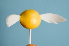 Snitch cake pops! Made with butterbeer cake, BUTTERBEER CAKE!