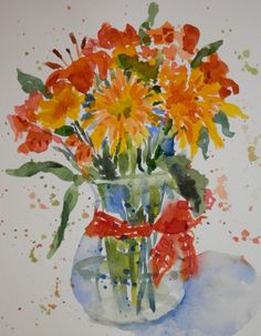 Jerry and I recently celebrated our 20th anniversary. These were the flowers he bought me...nice and colorful to paint. I'm not sure where ...