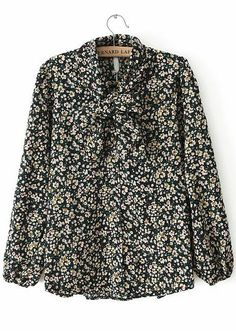 Green Lapel Long Sleeve Bow Floral Blouse - Sheinside.com