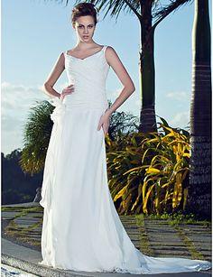 Sheath/Column Straps V-neck Court Train Chiffon Wedding Dress