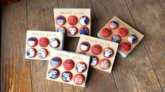 "6 Handmade Kawaii Fabric-Covered ""Owls & Nature"" Button Push Pin Set. by niconecozakkaya on Etsy"