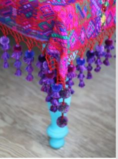 Put long purple tassels on my window scarves. And finally paint the table! ------- Vintage Guatemalan Zute with tassels by Lorenza Filati Do It Yourself Inspiration, Color Inspiration, Bohemian Living, Bohemian Decor, Gypsy Decor, Gypsy Style, Bohemian Style, Ethnic Style, Bohemian Gypsy