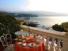 breakfast on the terrace at the Grand Hotel Miramare in Santa Margherita Ligure, Italian Riviera