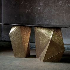 Metallic Pyrite Console by Viyahome Metallic brutalist midcentury brass gold console contemporary glamorous consoles sideboard table furniture handcrafted Indian Gold Furniture, Table Furniture, Furniture Design, Funky Furniture, Console Table Styling, Sideboard Table, Console Tables, Neoclassical Interior, Homemade Home Decor