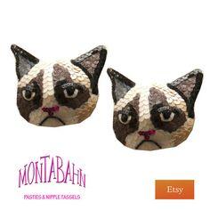hahaha!!!!Burlesque Pasties Nipple Tassel GRUMPY CAT Tard Tarder Sauce