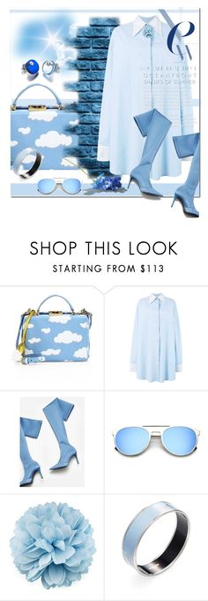 """""""Blue sky"""" by kitty-kimber ❤ liked on Polyvore featuring Mark Cross, MM6 Maison Margiela, MANGO, Gucci, Hermès and FrillyByLily"""