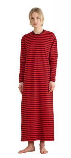 Marimekko Tasaraita Pitkämekko Nachthemd rot braun limitiert