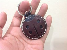 Leather Keychain Penny the LadyBug Leather Charm by leatherprince, $19.90