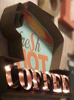 fresh hot coffee sign