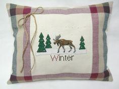 Moose / Winter Cross Stitched Pillow / Woodland by luvinstitchin4u, $27.00
