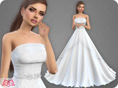 The sims resource: wedding dress 9 recolor 1 by colores urbanos The Sims 4 Pc, Sims Cc, Sims 4 Wedding Dress, Wedding Dresses, Frozen Wedding Dress, Dress Prom, Sims 4 Cc Kids Clothing, Teen Clothing, Pelo Sims