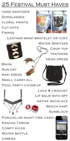 25 Must Have Items for Coachella and other Upcoming Festivals! REPIN! #mfredric #coachella #festival #fashion #whattowear #whattopack #musicfestival #checklist #guide