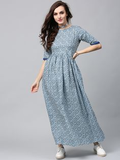 3979b28e2a1 Buy AKS Women Blue   Off White Printed Maxi Dress - - Apparel for Women  from AKS at Rs. 849