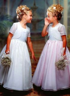 FLOWER GIRLS: petite baby's breath bouquet and hair flowers