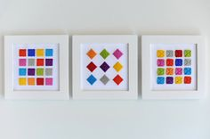 """Set of 3 Hand Stitched Wall Hangings/Artwork """"Mini Chicklets"""""""