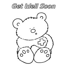 bear get well soon coloring pages - Free Printable Get Well Cards For Kids To Color