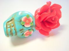 Gigantic Turquoise Sugar Skull and Red Rose Day of the Dead Ornament by PennysLane, $8.50
