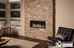 Indoor Fireplace Stone Wall Feature