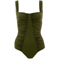 Melissa Odabash Hawaii Olive Swimsuit ($80) ❤ liked on Polyvore featuring swimwear, one-piece swimsuits, green, olive green swimsuit, swimsuit swimwear, olive green bathing suit, melissa odabash and swim costume