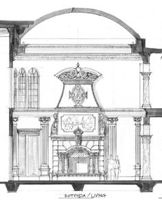 Cross section of Rotonda Great Hall.  Hand worked stone fireplace in center.  Foyer at right, entry through archway flanked by columns.  Rear porch at left.  Elliptical dome, Uplighting into dome, low voltage lights washing walls.  Ionic pilaster treatment under crown 'beam' created from depth of second floor.  Two and half story height, about 38 ft. from floor to top of dome. Double chandeliers.  by John Henry Architect: www.dreamhomedesignusa.com
