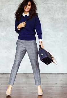 Cute work outfit: navy sweater, patterned gray pants, blush heels.