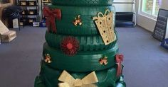 Tyre Christmas Tree | Christmas | Pinterest | Christmas Trees, Trees and Christmas