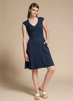 The Alight by Jennifer Glasgow is a knee length dress with French V-neckline, cap sleeves and in-seam pockets. Cap Sleeves, High Neck Dress, Dresses For Work, Bridesmaid Dresses, Collection, Glasgow, Spring, Fashion, Bridesmaid Dress