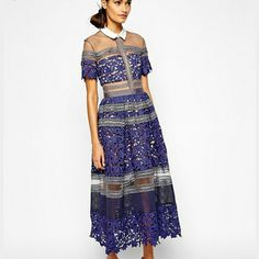 Self Portrait lace mesh midi dress Self Portrait Lilianna lace embroidered and mesh dress new with all original tags in size xs or 2. ONLY FULL PRICE OFFERS PLEASE. NO TRADES. Self Portrait   Dresses Midi