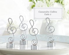 """Love Songs"" Silver-Finish Music Note Place Card/Photo Holder (Set of 4)"