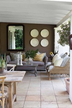 Inspired by the first warm evening this season, editor Mary Jane Harris recalls some of her favourite outdoor living areas Outdoor Living Rooms, Outdoor Spaces, Outdoor Decor, Condo Living, Living Spaces, Small Living, Built In Braai, Living Room Green, Beautiful Living Rooms