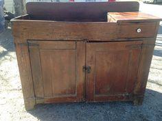 Antique Primitive Country Dry Sink Cabinet Farm House Rustic 19thc Furniture #NaivePrimitive