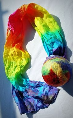 comet ball tutorial - made with felted ball and dyed play silk