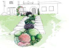 Romantic garden - View 1 - Sketch phase - Sandy MOREAU
