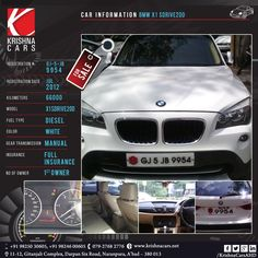 #usedCar for sale  CAR INFORMATION - BMW X1 Sdrive20D REGISTRATION # GJ-5-jb-9954 REGISTRATION DATE - May 2012 KILOMETERS - 66000 MODEL - X1 Sdrive20D FUEL TYPE - Diesel COLOR - WHITE GEAR TRANSMISSION - MANUAL INSURANCE - FULL INSURANCE NO OF OWNER - 1st OWNER  #BMW #BMWCar #BMWX1 #usedBMW#usedBMWX1 #usedBMWX1 #Model #BMWX1 #BMWX1Sdrive20D #Car #CarDealer #UsedCarDealer #PreOwnedCar #KrishnaCars