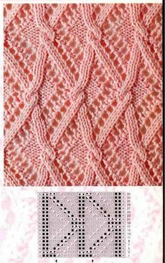This Pin was discovered by Нат Lace Knitting Patterns, Knitting Stiches, Cable Knitting, Knitting Charts, Lace Patterns, Knitting Designs, Crochet Stitches, Hand Knitting, Stitch Patterns
