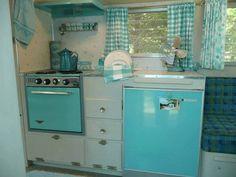 Vintage camper, aqua interior