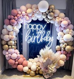 Photo: @inthewild.eventsandstyling 16th Birthday Decorations, Balloon Decorations Party, Balloon Garland, Elegant Birthday Party, Diy Birthday, Birthday Party Themes, Deco Ballon, Decoration Evenementielle, Happy Birthday Balloons