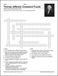 Thomas Jefferson Worksheets and Coloring Pages: Thomas Jefferson Crossword Puzzle