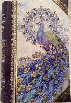 Punch Studio Deep Purple Peacock Storage Organizer Decorative Keepsake Book Box