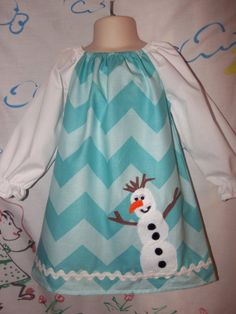 FROZEN Olaf Snowman Frozen Sister 's Forever  Dress by Pinkybomb, $24.99