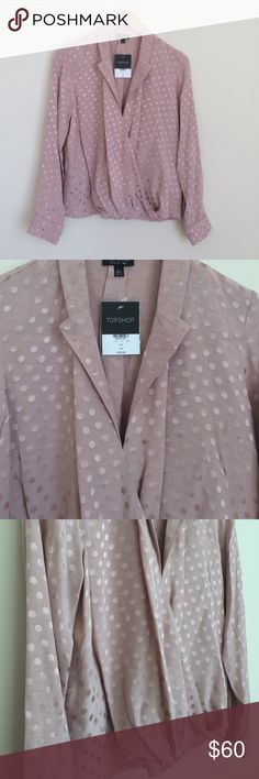New! TOPSHOP TOP! New, never worn. Beautiful dusty rose color, with polka dot detail throughout. Beautiful design, fits amazing, excellent quality. Wear with a pair of ripped jeans and flats, or a skirt and heels! True to size. Topshop Tops Blouses