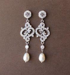 Art+Deco+Bridal+Earrings+Crystal+Chandelier+Earrings+by+JamJewels1,+$53.00