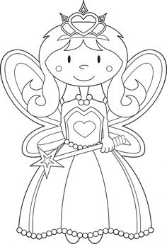 coloring book page for princess | FAIRY PRINCESS COLORING PICTURE