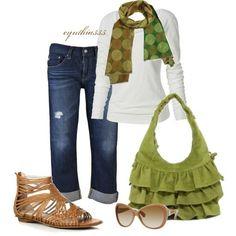 Green Ruffle Purse and Capri Jeans :)