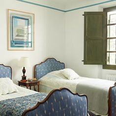 Blue Twin Bedroom - This house in the south of France was inherited by the creator of Mexican furniture brand Casamidy and carefully updated to retain its original charm.