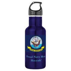 Stainless Steel Water Bottle / Navy Flag