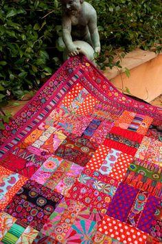 Kaffe Fassett ribbon and fabric quilt, designed by Elaine Schmidt for Renaissance Ribbons.